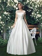 New Arrival Wedding Dresses 2016 Beaded Scoop Neck Short Sleeve Wedding Dress Made of Satin 11292675