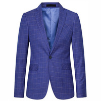 High Quality Casual Suit Mens Plaid Blazer Royal Blue Tuxedo Men Slim Fit Costume Homme One