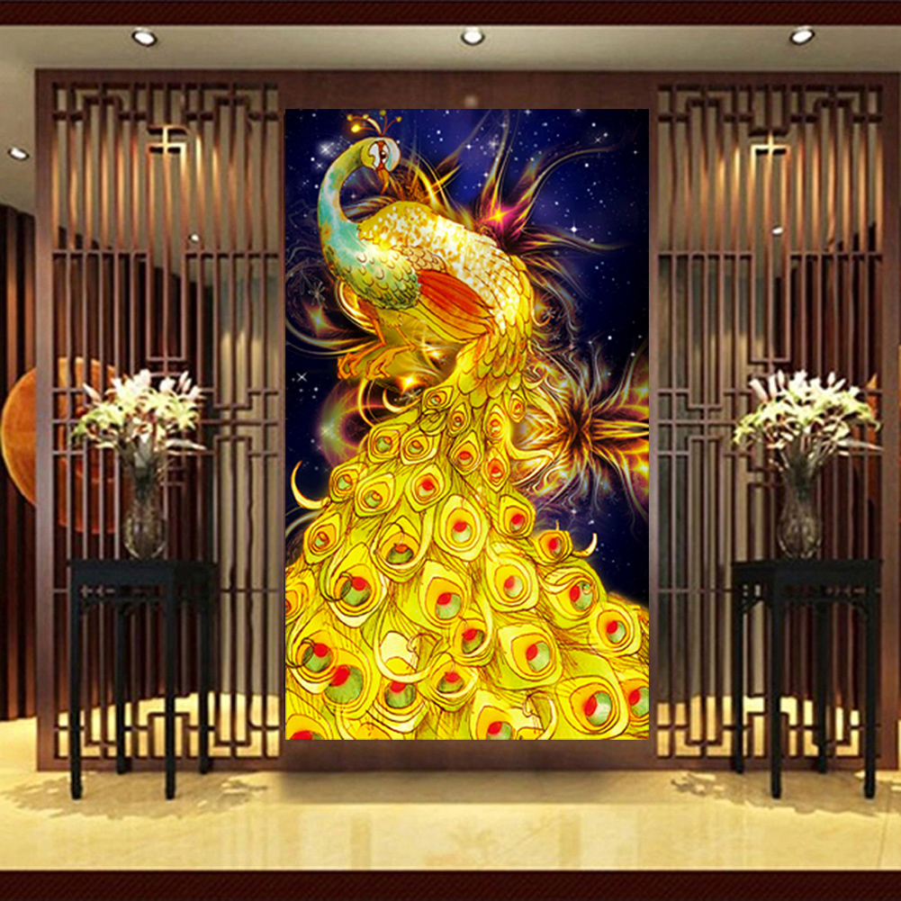 DIY 5D Diamond Painting Golden Phoenix Pattern Wall Sticker Cross ...