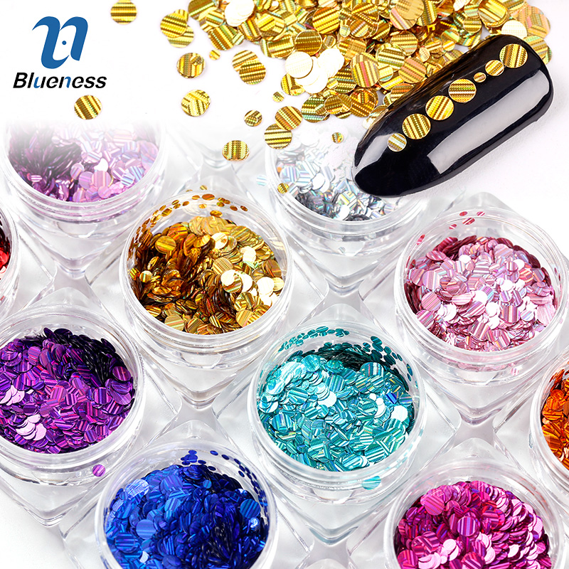 Blueness 1 Set Mixed 12 Colors Laser Nail Glitter Sequins DIY Manicure Colorful 3D Nail Decoration Studs Nail Art Sticker ZP333 12 jars set colorful mini nail caviar glass rhinestones 12 colors micro beads balls manicure tools diy 3d nail art decoration
