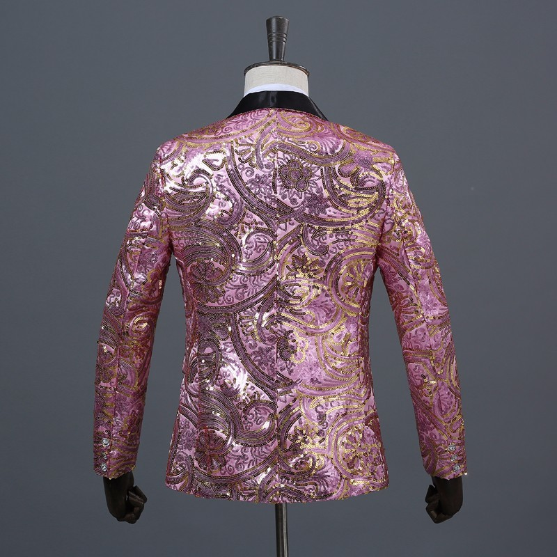 Image 4 - PYJTRL Mens Pink Gold Flower Sequins Fancy Paillette Wedding Singer Stage Performance Suit Jacket Annual DJ Blazer With Bow Tie-in Blazers from Men's Clothing