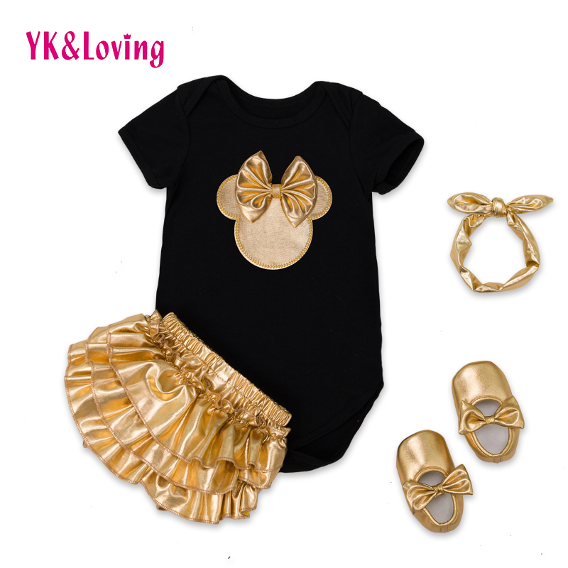 2016 baby girl clothes 4pcs clothing sets black cotton rompers golden ruffle bloomers shorts shoes headband