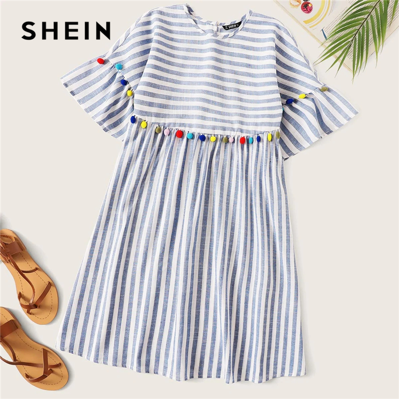 SHEIN Boho Cute Blue Colorful Pompom Detail Striped Smock Summer Dress Women High Waist Short Tunic Straight Dresses