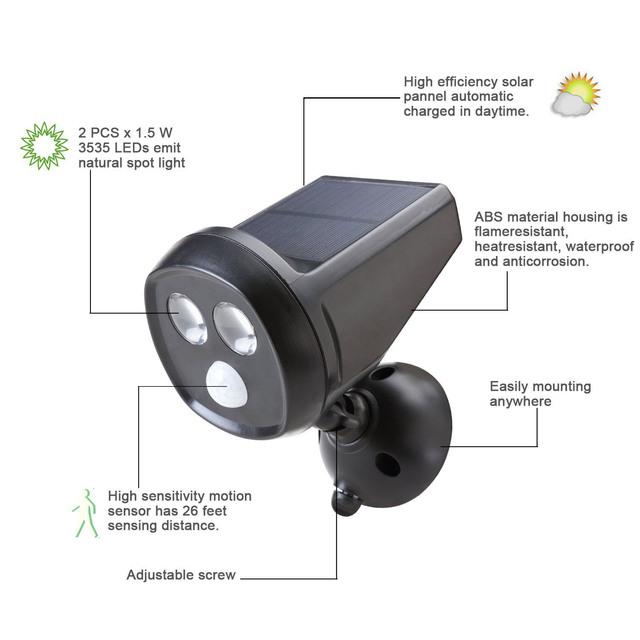 Sensor de Detección de Movimiento Inalámbrico al aire libre Con Energía Solar LED Del Paisaje de Luz de Seguridad Resistente A La Intemperie de Proyector de La Pared Lámpara de Noche