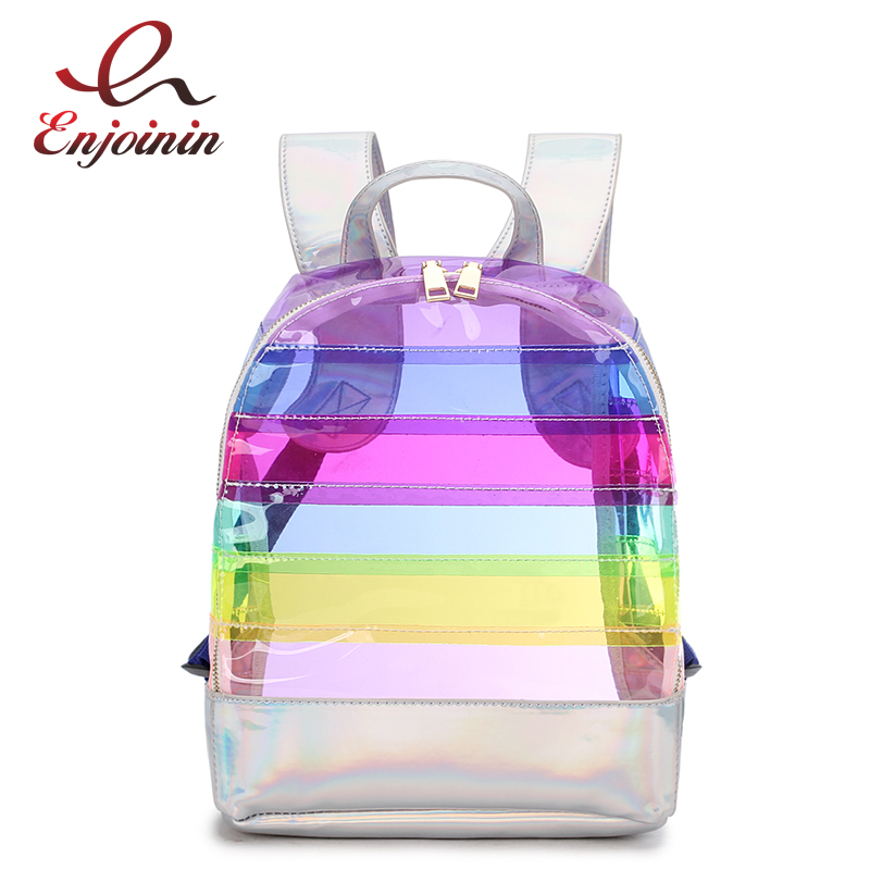 Fashion Women's Backpack Color Striped Laser Plastic See Through Security Transparent Backpack Bag Ladies Travel Bag Ladies Bag high cut long sleeve see through striped teddy