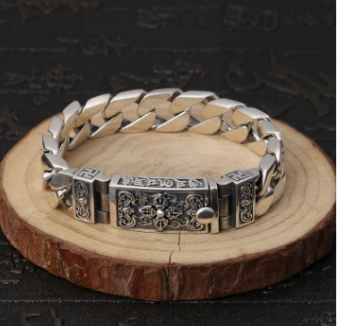 Bracelet argent bracelet hommes bracelet 12mm