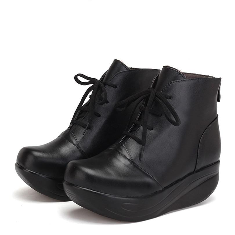 Lacets Lin Courtes Balançoire Zipper Bottines Bottes forme Plate Coins Chaud Cuir Chaussures Taille Femmes Véritable D'hiver Grande En Roi Black Noir À zMVpjqSUGL