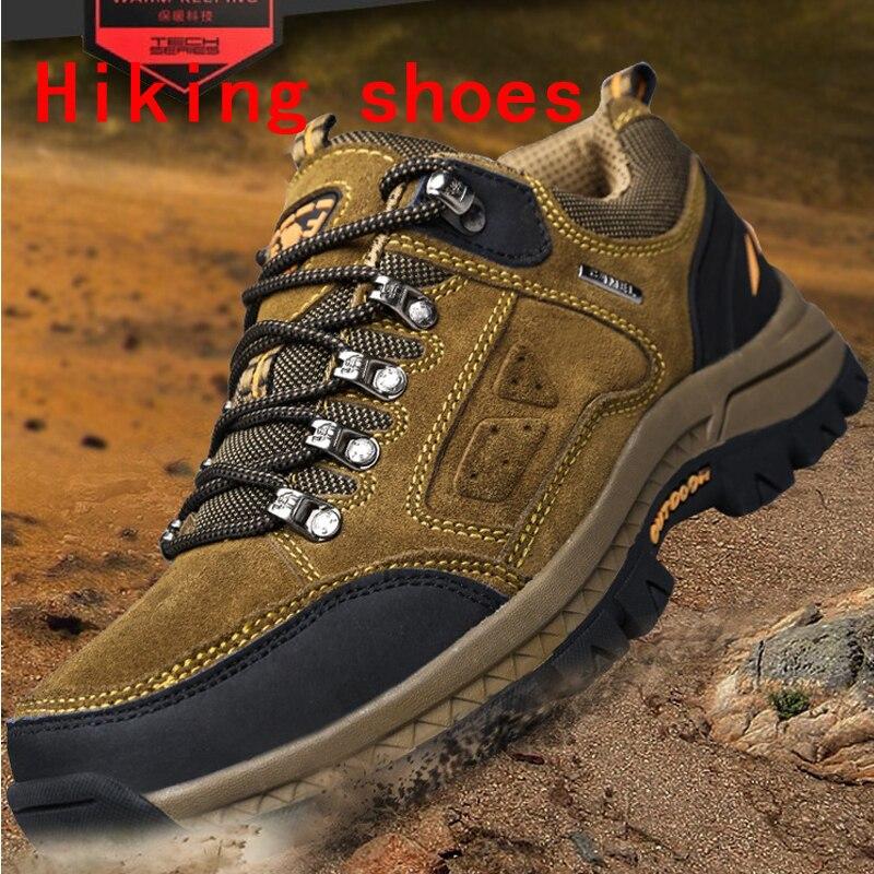 2019 Hot hommes chaussures de randonnée confortables antidérapantes première couche en cuir de vachette baskets hommes respirant bottes de randonnée grande taille 38-48