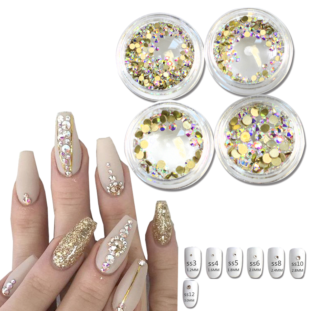1Bottle Micro SS3-SS12 Gold AB Rhinestones Nails Crystal Flat Back Shinning Tips Sticker Nail Art Decorations DIY Phone SANJ245 ss3 ss30 jet black ab nail art rhinestones with round flatback for nails art cell phone and wedding decorations