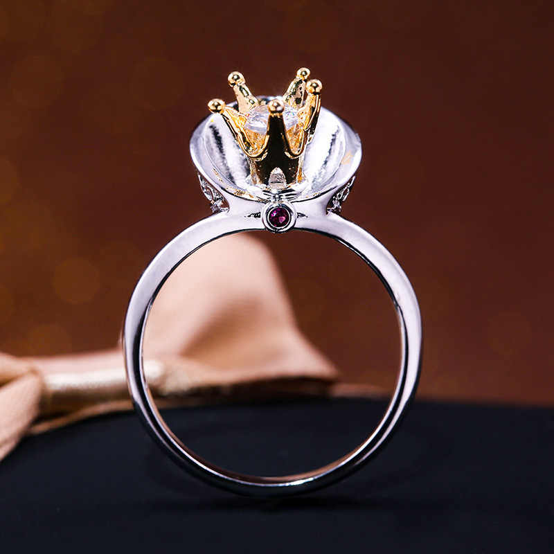 Hainon moda Color plata circón corona dedo anillo reina cristal rojo capa estilo joyería para mujer boda regalos de navidad
