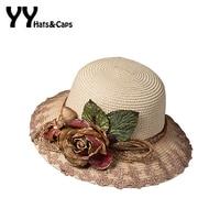 Elegant Tea Party Hat For Women Summer Straw Sunhats With Simulation Flowers Ladies Elegant Beach Caps UV Trilby YY60166