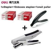 [ReadStar]Deli 0329 manual stapler plier style design hand paper binding include 1 stapler 10 boxes staples 1 nail puller