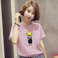 Короткая яркая шелковая футболка с коротким рукавом и Свободный корейский BF Футболка разлетайка Топ для новой моды женщин в 2019