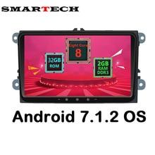 Smartech Octa core 2 DIN Android 7.1.2 VW Автомобильный Мультимедийный Плеер стерео Радио автомобиль интеллектуальные для VW Skoda поло Golf Passat Jetta