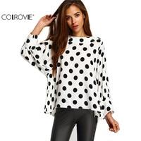 2016 Spring Wear Women Hot Sale Vintage Tops Latest Cute Black Polka Dots Long Batwing Sleeve