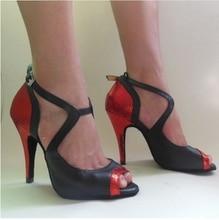 Black Red Gold High Heel Salsa Tango Ballroom Dance Shoes Women / Latin Dance Shoes Women