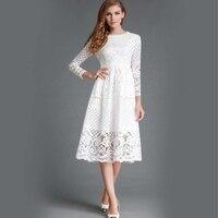 여름 패션 새로운 2018 아웃 중공 우아한 흰색 레이스 우아한 파티 드레스 높은 품질의 여성 긴 소매 캐주얼 드레스 DR010