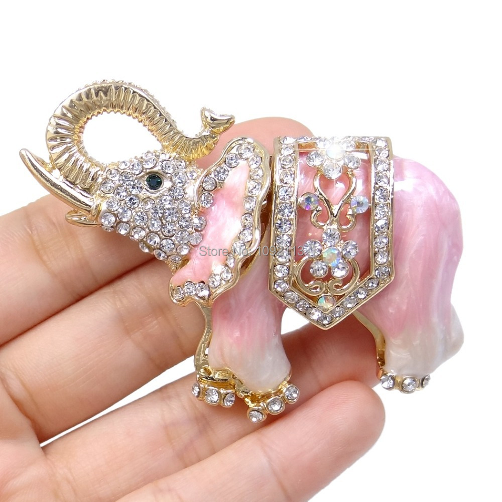 Bella Fashion Pink Brown Red Black Elephant Rhinestone Brooch Pin For Gift Austrian Crystal Silver Tone