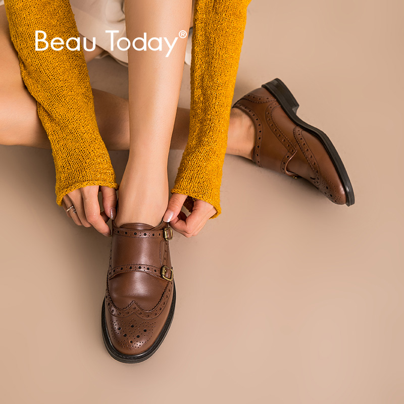 BeauToday Monk Straps Shoes Women Calfskin Genuine Leather Brogues Round Toe Brown Color Casual Lady Flats Handmade 2140820