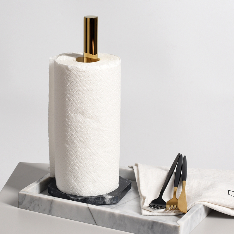 Balck Countertop Creative Roll Holder Kitchen Napkin Holder Marble Gold-plated Paper Holder Toilet Paper Organizer Storage Rack