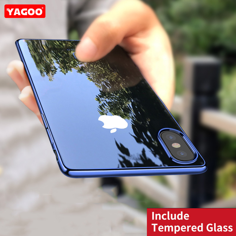 For iphone X case luxury silicone TPU soft back cover ultra thin shell screen glass black red for iphone X full cover case yagoo