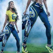 2016 New GYM American football theme 3D printed women Running Tights workout sportswear Leggings Yoga fitness