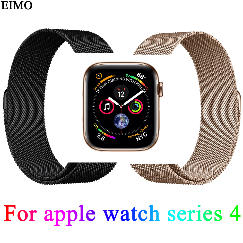 EIMO Milanese Loop Strap For Apple Watch 4 44mm 40mm Iwatch band 4 Wrist link Bracelet Stainless Steel Watchband Pulseira Belt