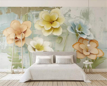 Beibehang Custom Wallpaper Murals 3d embossed flower oil painting papel de parede Living room sofa background wallpaper