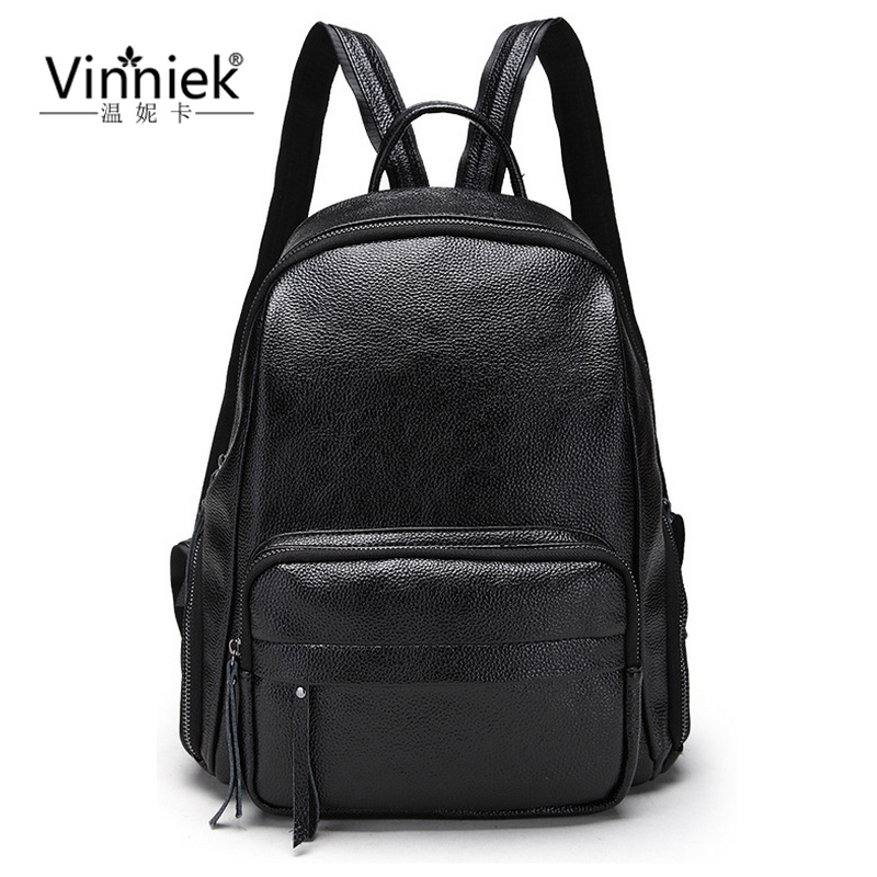 Vinniek Black Backpacks Zipper Women Backpack Fashion School Bags For Teenage Girls Back pack PU Leather