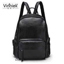 Vinniek черный рюкзаки молния женщины рюкзак модные школьные сумки для девочек-подростков Back Pack из искусственной кожи Большой Рюкзак Mochila