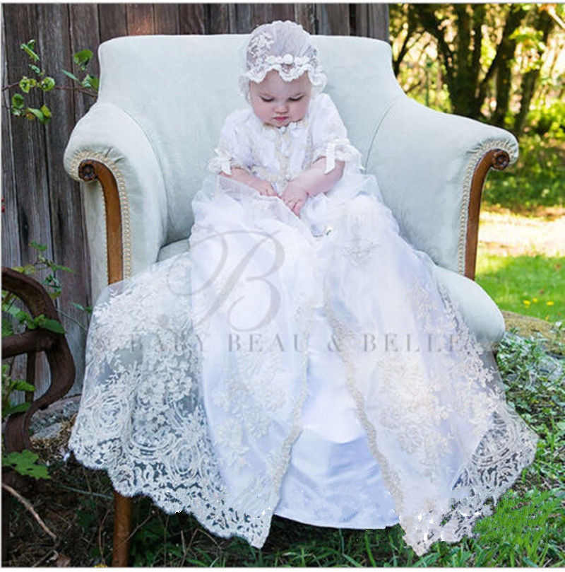 2 Pieces Lolita White Ivory Baby Girls Christening Gown Infant Girls Baptism Dress Lace Applique With Bonnet size 0-24 month 2016 new baby infant christening dress lace applique white ivory boys girls baptism gown with bonnet with belt