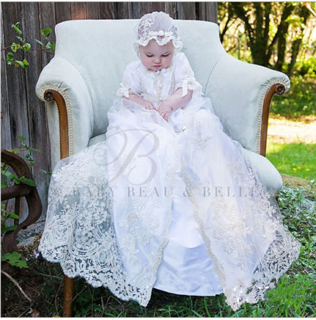0e502067fd90 2 Pieces Lolita White Ivory Baby Girls Christening Gown Infant Girls Baptism  Dress Lace Applique With Bonnet size 0-24 month