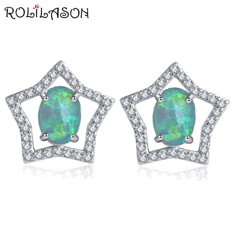 ROLILASON Special desgin five-pointed star desgin for girl Silver Stamped green Fire Opal Stud Earrings Fashion Jewelry OE730