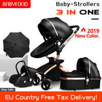 CE safety  baby strollers 3 in 1 high quality PU baby carriage 0-36 months use high quality leather babyfond stroller 2in 1