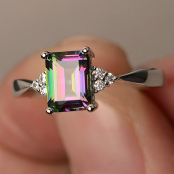 New Fashion Green Mystic Multicolor Ring Silver-color Ring Wedding Accessories Engagement For Women