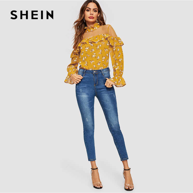 d7cfc8be3ebfc8 ... SHEIN Ginger Floral Mesh Insert Ruffle Bell Sleeve Top Elegant Button  Off the Shoulder 2019 Women ...