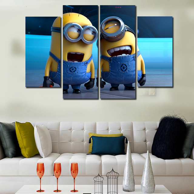 4 Pieces/set Small Yellow People Modern Wall Art Home Decor Canvas ...