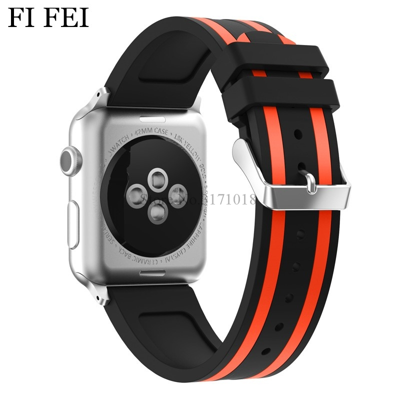 FI FEI Bracelet Soft Silicone Replacement Sports Band For Apple Watch Band 38mm 42mm Wrist Bracelet Strap WatchBand Series 1 2 3 eache silicone watch band strap replacement watch band can fit for swatch 17mm 19mm men women