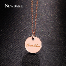 "NEWBARK Coin Necklace With ""First Love"" Words Pendant For Women Rose Gold Plated Engraved Medallion Fashion Jewelry"