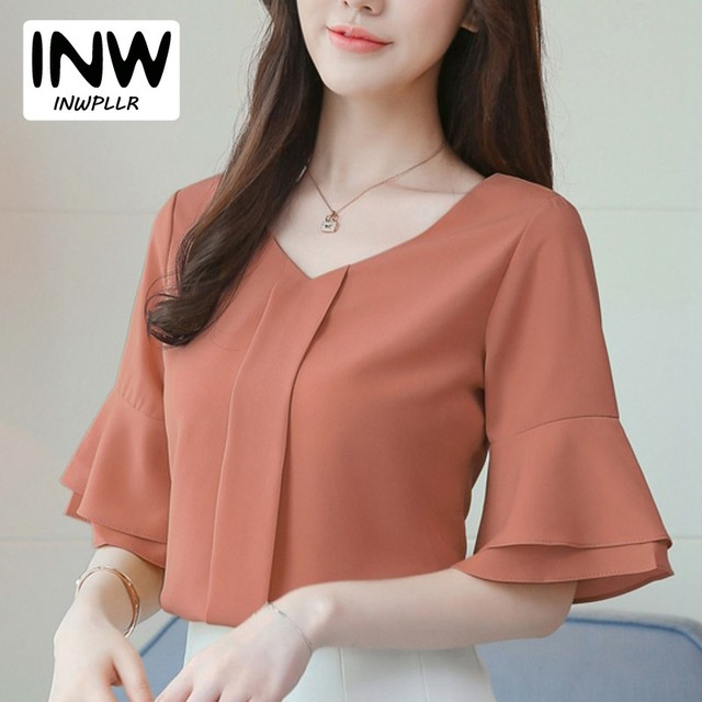 a4c6a93d35a 2018 Womens Tops And Blouses Summer Flare Sleeve Chiffon Blouse Shirt Women  Tops Ladies Work Wear