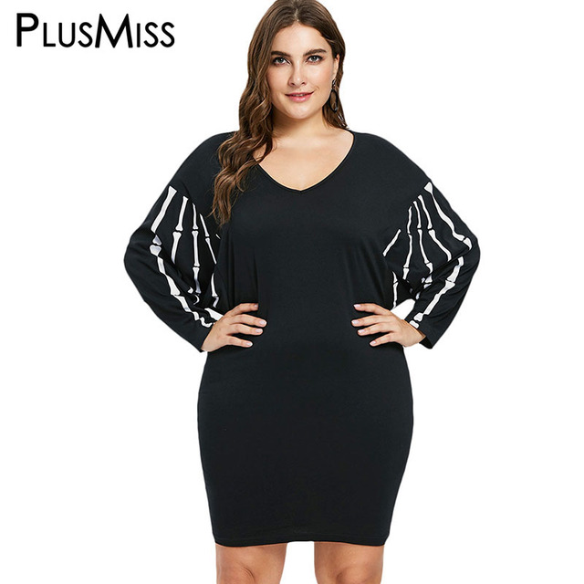 90be29b72ae PlusMiss Plus Size 5XL Halloween Skull Skeleton Print Black Party Dresses  Women Big Size Batwing Sleeve Dress XXXXL XXXL XXL