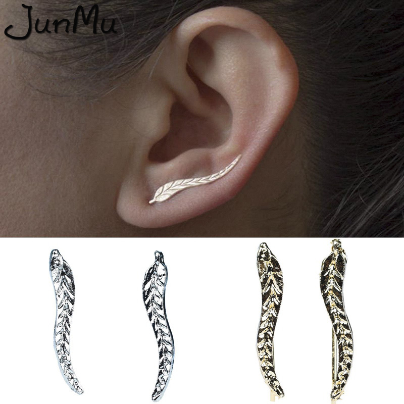 New Vintage Gold Sliver Plate Leaf Stud Earrings For Women Fashion Bohemian Small Ear Stud Earrings Brincos Bijoux