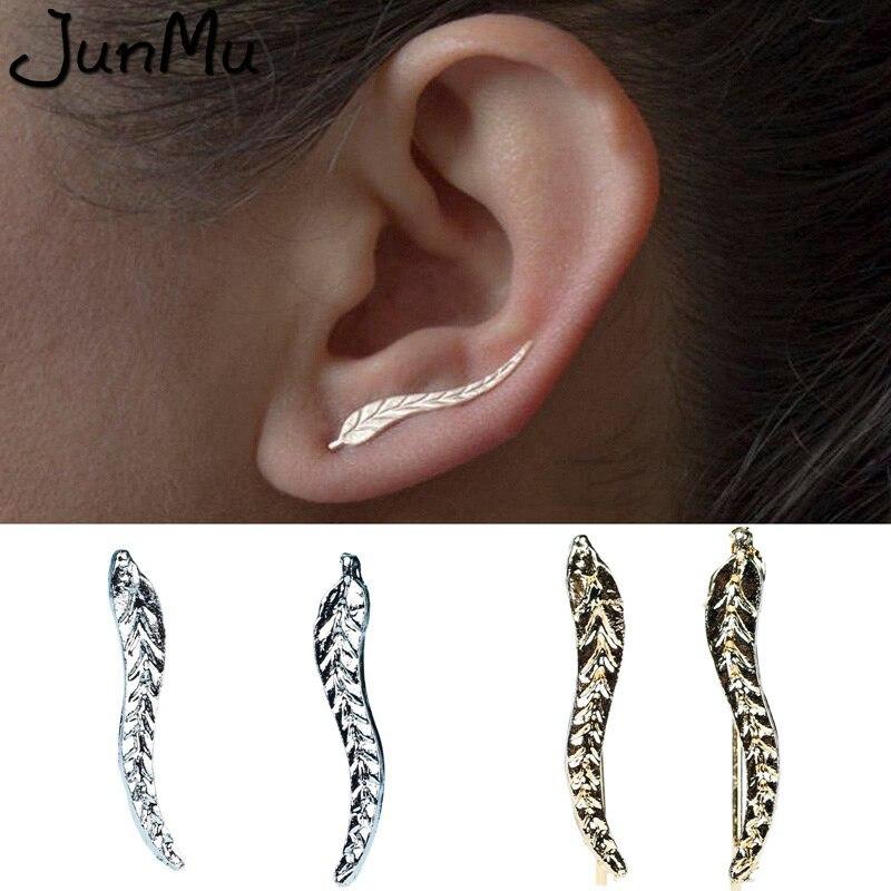 New Vintage Gold Sliver Plate Leaf Stud Earrings For Women Fashion Bohemian Small Ear Stud Earrings Brincos Bijoux