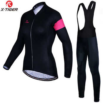 X-Tiger Anti-UV Autumn Cycling Clothing 100% Polyester Cycling MTB Bicycle Clothes Long Sleeve Women Cycling Bike Jersey Set - DISCOUNT ITEM  45 OFF Sports & Entertainment