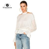 Eileen Elisa Ladies White Ruffled Blouse Halter Neck Fashion 2017 Autumn Off Shoulder Blouse Shirt Open
