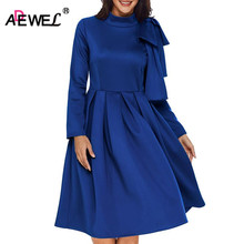 ADEWEL Autumn Long Sleeve A line Women Elegant Dress Vintage High Neck Bowknot Short Flare Party Vestidos De Renda