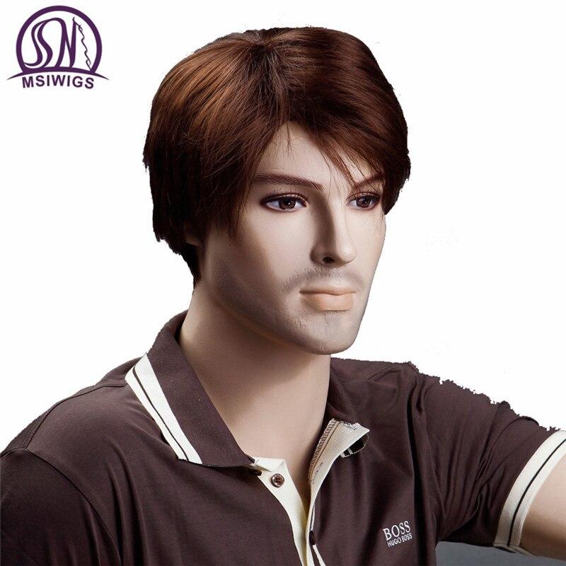 MSI Искусственные Парики коричнево-красный Для мужчин S Искусственные парики 8 дюйм(ов) Короткий прямой парик для Для мужчин парик термостойк... ...