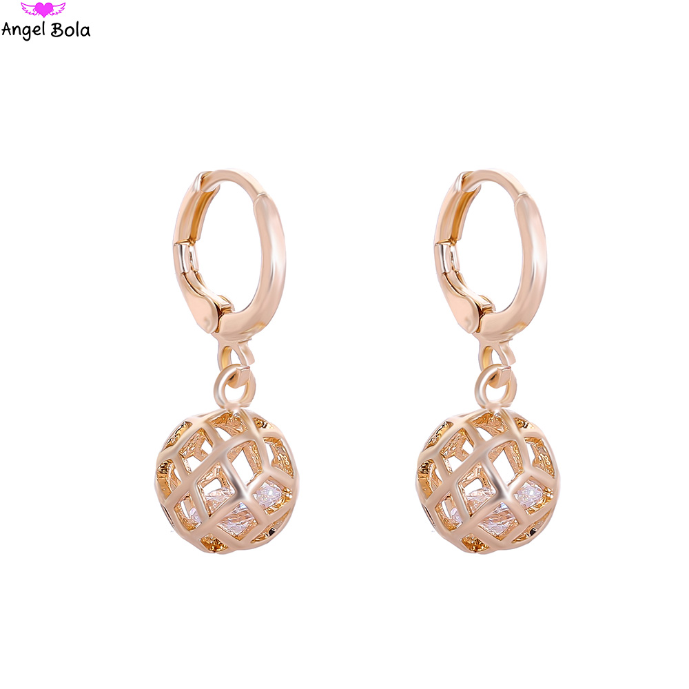 Wholesale 10pair Brand Fashion Ball Hollow Design Stud Earrings Women Water Drop CZ Earrings Jewelry For Valentines Day E-041