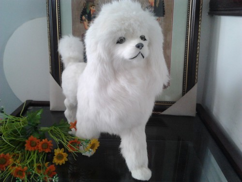 simulation poodle toy about 36x28cm white dog real fur model ornament home decoration gift h1397 1 6 scale model metal gear solid v the phantom d dog diamond dog about 23cm collectible figure model toy gift
