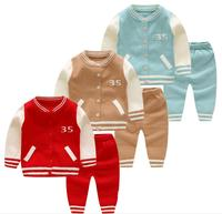 Baby Girls Clothing Set Spring Autumn Thin Number 35 Pattern Sweater Suit Newborn Infant Boy Buttons Sweaters 6 18Months